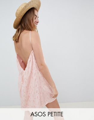 ASOS DESIGN Petite Low Back Mini Sundress in Heart Broderie