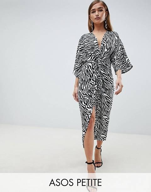 ASOS DESIGN Petite – Midi-Kimonokleid mit Zebramuster