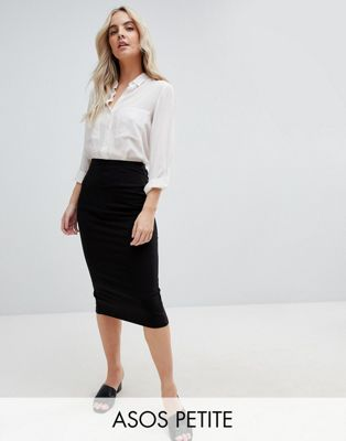 ASOS DESIGN Petite midi pencil skirt in jersey with back split