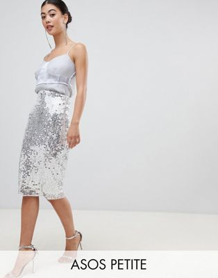 ASOS DESIGN Petite midi sequin tube skirt