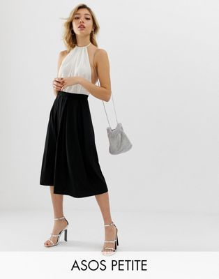 ASOS DESIGN petite midi skirt with box pleats