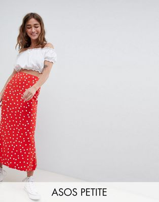 ASOS DESIGN Petite midi skirt with kickflare in polka dot