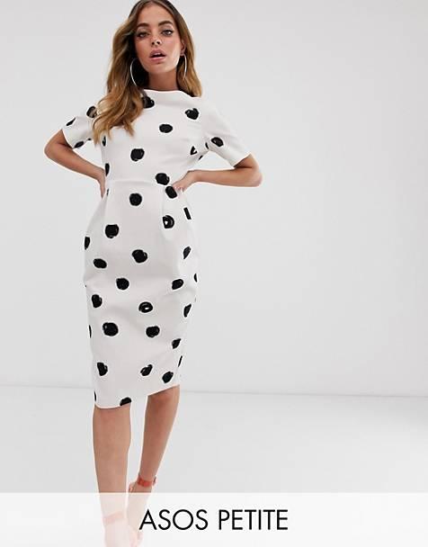 a1c95e3a927 ASOS DESIGN Petite midi wiggle dress in mono spot