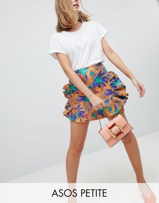 ASOS DESIGN Petite mini skirt with frill in tropical jacquard