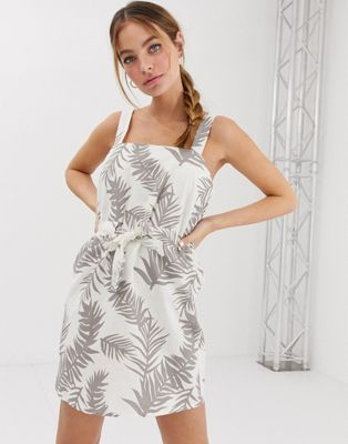 Image 1 of ASOS DESIGN Petite mini square neck sundress with ruched drawstring waist in tropical print