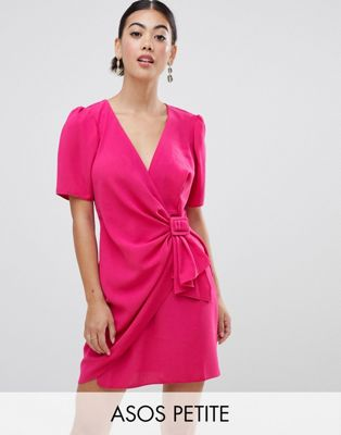 Image 1 of ASOS DESIGN Petite mini wrap dress with belt