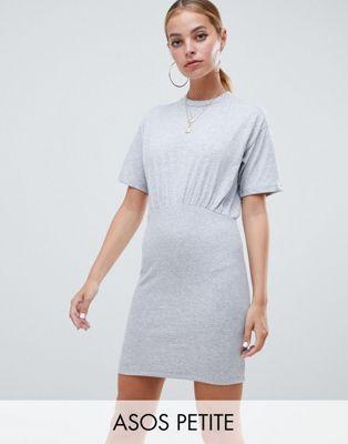ASOS DESIGN Petite mixed fabric short sleeve mini bodycon dress