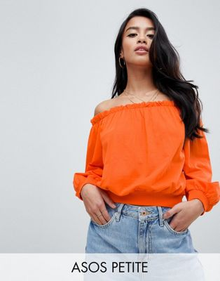 Image 1 of ASOS DESIGN Petite Off Shoulder Sweatshirt With Pretty Ruffle Detail