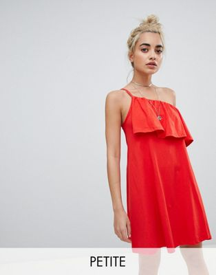 ASOS DESIGN Petite one shoulder sundress with ruffle