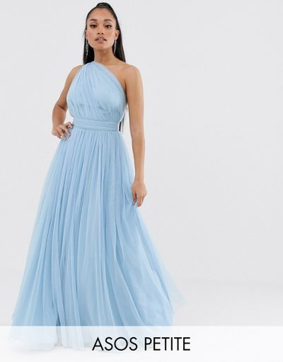 ASOS DESIGN Petite one shoulder tulle maxi