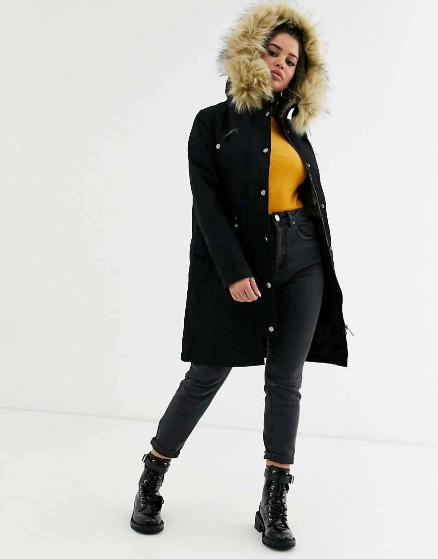 Asos Design Petite Parka With Detachable Faux Fur Liner by Asos Design