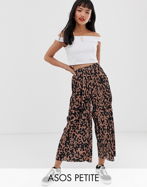 Image 1 of ASOS DESIGN Petite plisse culotte trousers in animal print