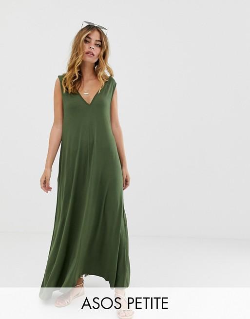ASOS DESIGN Petite plunge trapeze maxi dress