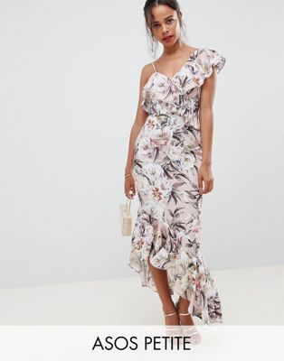 ASOS DESIGN Petite pretty light floral print ruffle maxi dress