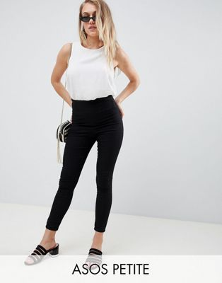 ASOS DESIGN Petite pull on jegging in black with clean waistband detail