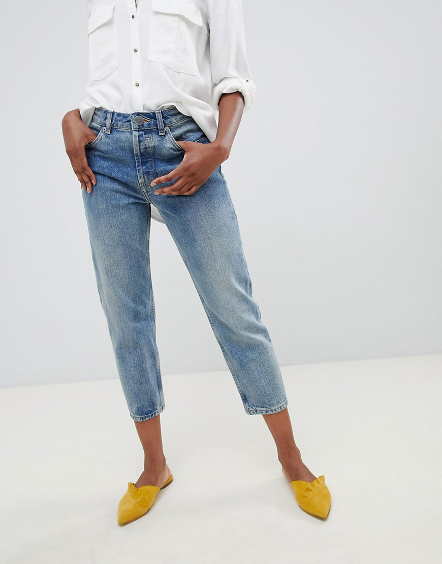 Asos Design Petite Recycled Florence Authentic Straight Leg Jeans In Light Stonewash Blue by Asos Design
