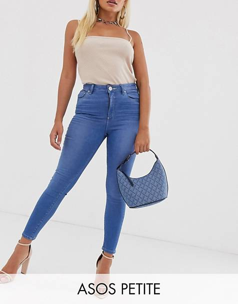 ASOS DESIGN Petite Ridley high waisted skinny jeans with raw hem in French workwear blue wash