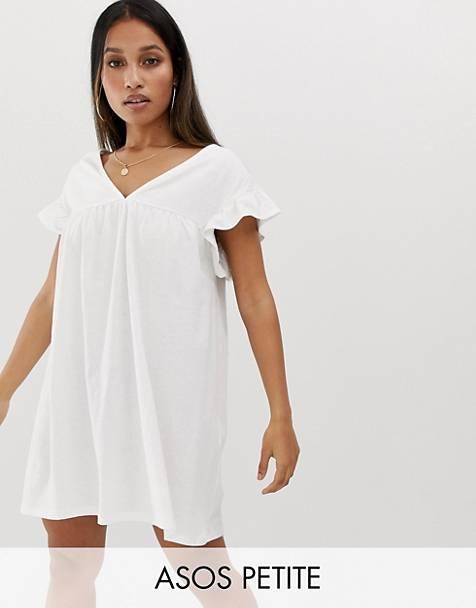 20167046871 ASOS DESIGN Petite - Robe babydoll duveteuse courte en coton réversible