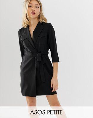 ASOS DESIGN Petite - Robe smoking courte style fonctionnel