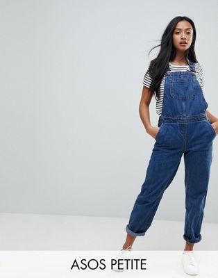 ASOS DESIGN Petite - Salopette en jean - Bleu délavé