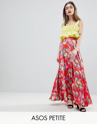 ASOS DESIGN Petite satin maxi skirt with centre front split in floral print