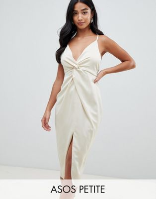 Image 1 of ASOS DESIGN Petite satin midi dress with knot front and plunge neck