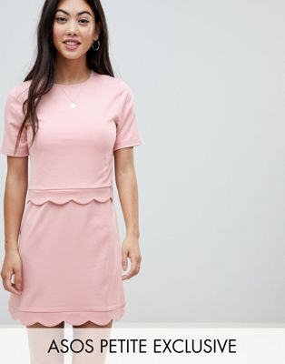 ASOS DESIGN Petite scalloped hem mini dress with crop top