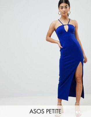 ASOS DESIGN Petite scuba maxi dress with lace back detail