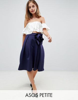 ASOS DESIGN Petite scuba prom midi skirt with corsage detail