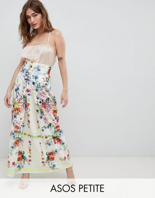 ASOS DESIGN Petite scuba prom skirt with mirrored flower print