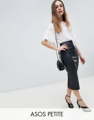 ASOS DESIGN Petite sculpt me leather look midi skirt