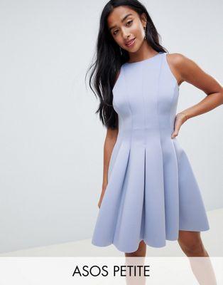ASOS DESIGN Petite sleeveless open back seamed mini skater dress