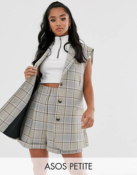 ASOS DESIGN Petite sleeveless suit blazer in check