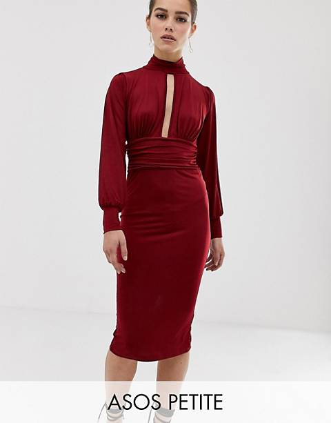 ASOS DESIGN Petite slinky keyhole ruched waist midi dress