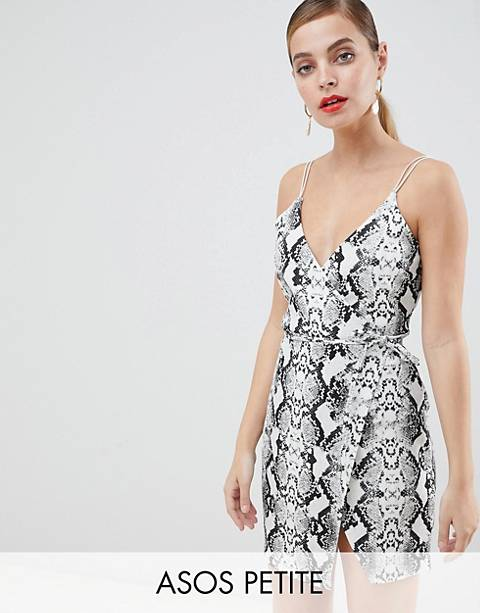ASOS DESIGN Petite snake wrap mini dress