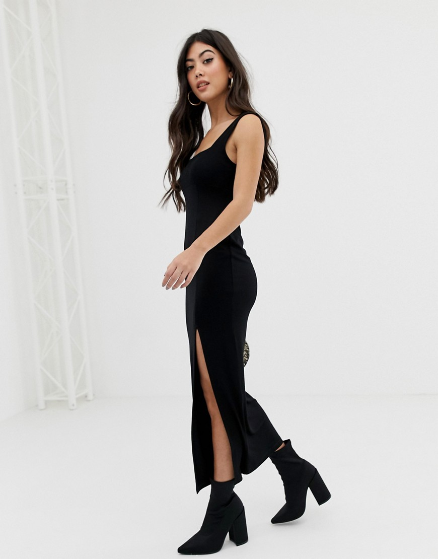 Asos Design Petite Square Neck Mixed Fabric Maxi Dress With Split by Asos Design