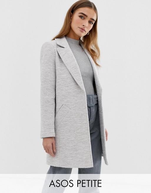 ASOS DESIGN – Petite – Strukturierter Mantel mit schmalem Schnitt