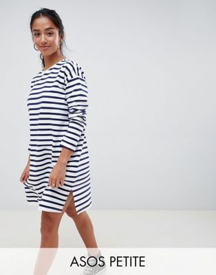 Image 1 of ASOS DESIGN Petite sweat dress in stripe with long sleeves