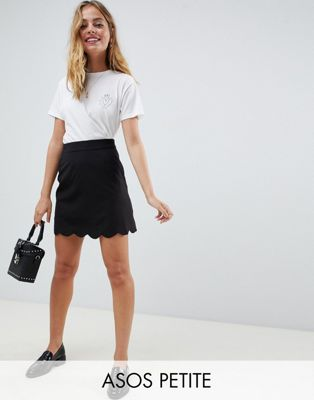 Image 1 of ASOS DESIGN Petite tailored a-line mini skirt with scallop hem