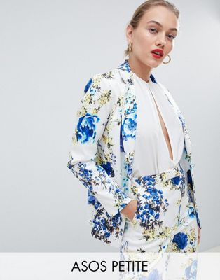 ASOS DESIGN Petite tailored floral print single breasted blazer