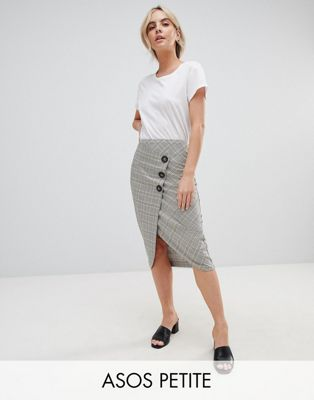 ASOS DESIGN Petite tailored midi skirt in check with button wrap detail