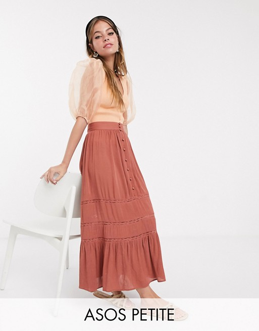 ASOS DESIGN Petite tiered crinkle maxi skirt with lace insert in brown