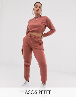 Image 1 of ASOS DESIGN Petite tracksuit cropped sweat / slim jogger with tie