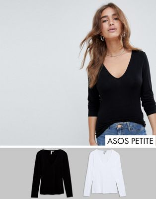 ASOS DESIGN Petite ultimate top with long sleeve and v-neck 2 pack SAVE