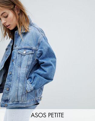 ASOS DESIGN Petite - Veste en jean coupe girlfriend - Bleu délavé clair