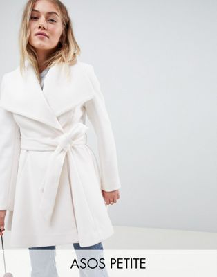 Image 1 of ASOS DESIGN Petite waterfall collar coat with tie belt