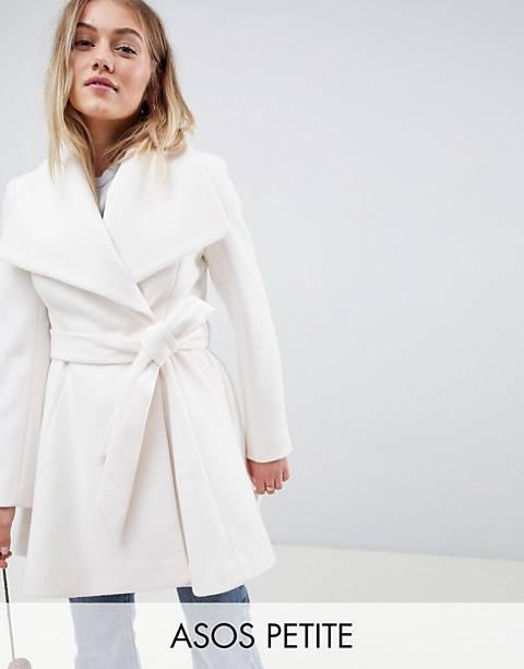 ASOS DESIGN Petite waterfall collar coat with tie belt