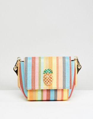 ASOS DESIGN pineapple stripe cross body bag