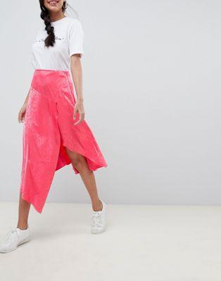Image 1 of ASOS DESIGN pink snake jacquard midi skirt with asymmetric hem