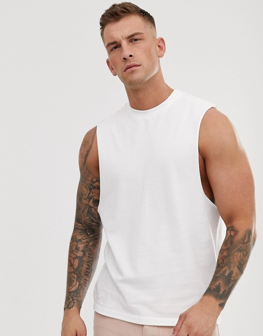 ASOS DESIGN pique relaxed sleeveless t-shirt with dropped armhole in white